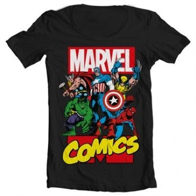 Marvel Comics Heroes Wide Neck Tee, Wide Neck T-Shirt