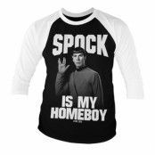 Spock Is My Homeboy Baseball 3/4 Sleeve Tee, Baseball 3/4 Sleeve Tee