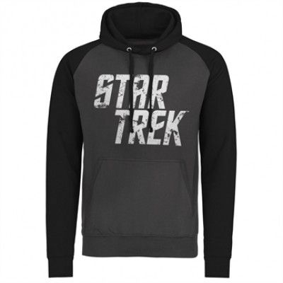 Star Trek Distressed Logo Baseball Hoodie, Baseball Hooded Pullover