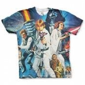 Star Wars Allover Retro Poster T-Shirt, Modern Fit Polyester Tee