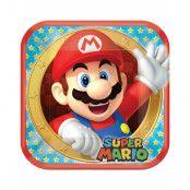 8 stk Fyrkantiga Papptallrikar 23x23 cm - Super Mario Party