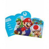 8 stk Inbjudningskort  - Super Mario Party