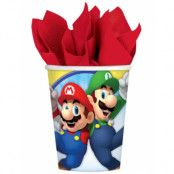 8 stk Pappmugg 266 ml - Super Mario Party