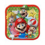 8 stk Små Fyrkantiga Papptallrikar - Super Mario Party