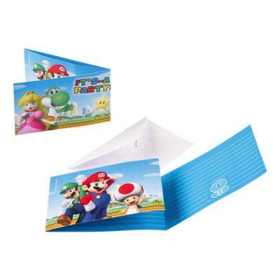 Inbjudningskort Super Mario - 8-pack