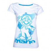 Nintendo Vit/Blå Mario Dam T-shirt - Medium