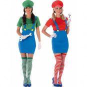 Parkostymer - Mario och Luigi för Damer