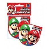 Super Mario bröder - små anteckningsblock - 4 st