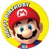 Super Mario Bros gul rund folieballong till födelsedagen - 46 cm