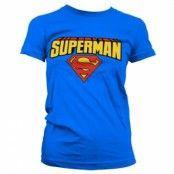 Superman Blockletter Logo Girly T-Shirt, Girly Tee