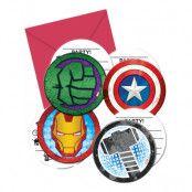 Inbjudningskort Avengers - 6-pack