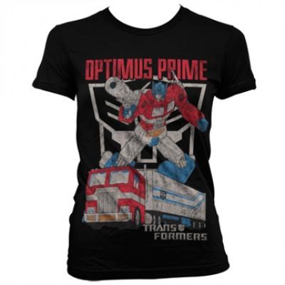 Optimus Prime Distressed Girly T-Shirt, Girly Tee