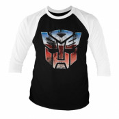 Transformers - Distressed Autobot Shield Baseball 3/4 Sleeve Tee, Baseball 3/4 Sleeve Tee