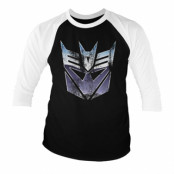 Transformers - Distressed Decepticon Shield Baseball 3/4 Sleeve Tee, Baseball 3/4 Sleeve Tee