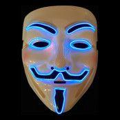 EL Wire V For Vendetta LED Mask - Blå