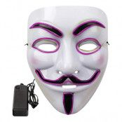 EL Wire V For Vendetta LED Mask - Lila