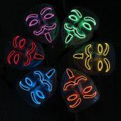 EL Wire V For Vendetta LED Mask - Röd