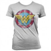 Wonder Woman Distressed Logo Girly Tee, Girly T-Shirt