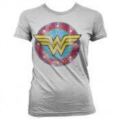 Wonder Woman Distressed Logo Girly Tee, T-Shirt