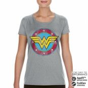 Wonder Woman Distressed Logo Performance Girly Tee, CORE PERFORMANCE GIRLY TEE