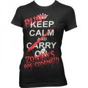 Run - Zombies Are Coming! Girly T-Shirt, Girly T-Shirt