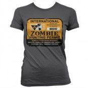 Zombie Hunting Permit Girly T-Shirt, Girly T-Shirt