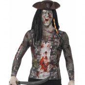 Zombie Pirat Fotorealistisk Kostymöverdel Till Herre