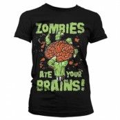 Zombies Ate Your Brain Girly T-Shirt, Girly T-Shirt